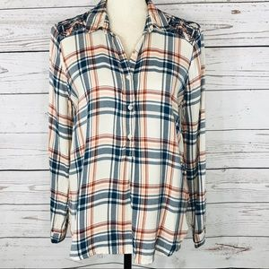 Lucky Brand Top Plaid Long Sleeve Embroidered